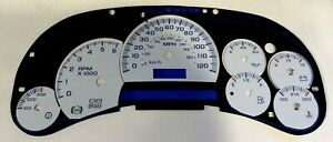 Gm Truck Suv White Instrument Cluster Gauge Face Applique Overlay Blue Scales