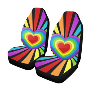 Heart Rainbow Sunbeam Car Seat Covers Set Of 2 Seat Protectors Auto Accessories
