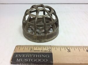 Small Vtg Antique Round Cast Bronze Brass Metal Drain Cover Steampunk 2 High