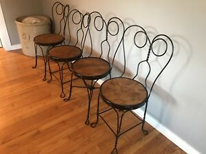 Antique Ice Cream Parlor Chairs Metal And Wood Chairs Set Of 4