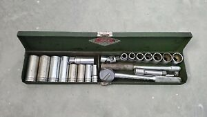 Vintage 20 Piece S k 3 8 Drive Socket Set In Metal Sk Box Sk Tool