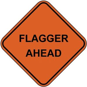 48 Mesh Roll Up Sign Flagger Ahead Non reflective