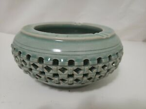 Antique Chinese Pewter Ashtray With Porcelain From Estate Collection