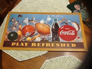 Coca Cola Vintage 1994 Play Refreshed Tin Sign 15-1/2