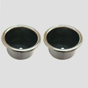 2pcs Stainless Steel Cup Drinking Holder Marine Boat Car Truck Camper Rv New