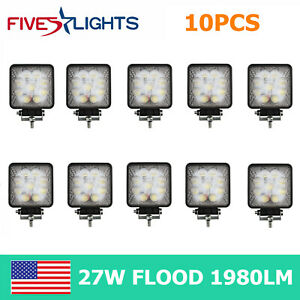 10x 27w Led Work Light Square Flood Driving Fog Lamp Bumper 5d Opticals 12v24v