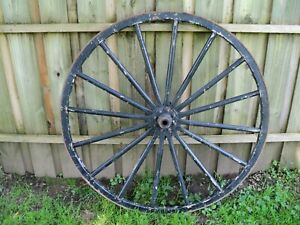 Antique Primitive Wood Iron Wagon Wheel 42 1 2 Wide Pickup Only No Shipping