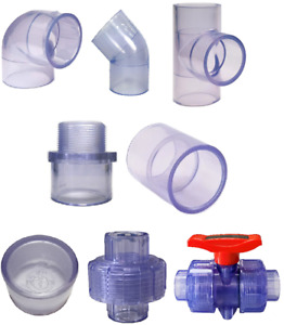 Clear Pvc Fittings Elbows tees couplings male Adapters caps unions ball Valves
