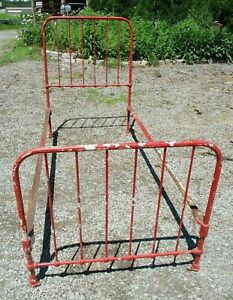 Antique Ca 1920 Iron Bed W Rails Distressed Red Paint Cottage She Shed