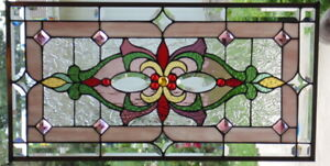 Stained Glass Transom Window Hanging 30 X 15 1 2 Brass Border Edging