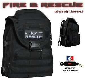 Fire Rescue Firefighter Backpack On off Duty Bag Turn Out Gear free Keychain