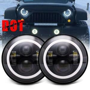 2x 7 60w Cree Led Headlights With Rgb Chasing Halo For Jeep Wrangler Le