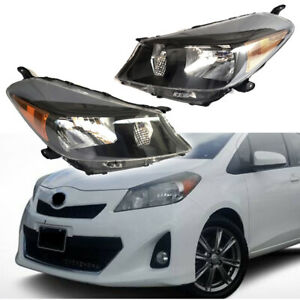 Fits For 2012 2014 Toyota Yaris Hatchback Headlights Black Housing Clear Lens