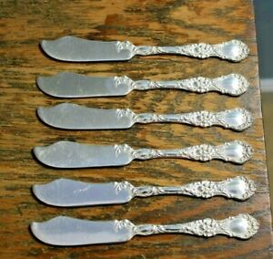 Set Of 6 Silver Plated 1835 R Wallace Hawaiian Hibiscus Butter Knives
