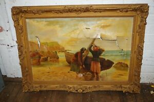 Antique Signed A Lewis Painting Frame French Ornate Carved Gilt Wood Gesso