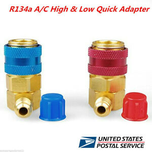 Car Ac R134a A C Manifold Gauge Conversion Kit High Low Angle Quick Adapter Acme