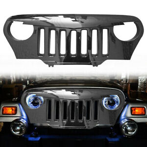 Front Upper Grill Gloss Black Angry Bird Grille For Jeep Wrangler Tj 1997 2006
