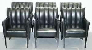 Set Of Six Black Leather Vintage Armchairs With Fluted Backs Great Suite Set 6