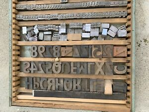 Letterpress Wood Type Characters Antique Drawer