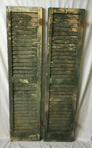 2 Antique House Window Wood Louvered Shutters 59x14 Old Vtg 98 19e