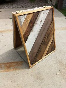 Vintage Business Sandwich Board Sidewalk Sign Folding Boutique Repurposed Wood