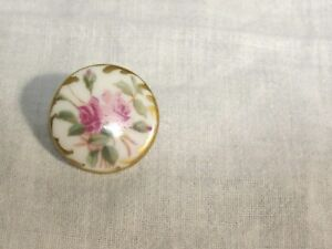Antique Hand Painted Porcelain Stud Button 2 Tone Pink Roses With Gold 1 1 16