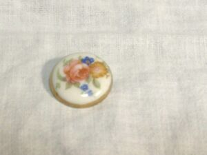 Antique Porcelain Painted Multi Florals Stud Button