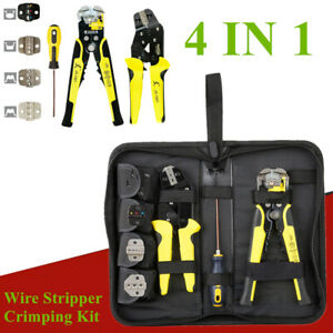 4 In 1 Set Ratcheting Wire Stripper crimping Kit Pliers Cord End Terminals Tool