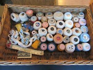 Huge Lot Of 38 Antique Sewing Embroidery Thread Spools Wooden Cotton Silk