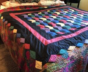 Vintage Antique Zig Zag Patchwork Quilt Abstract 80 X 63 Cotton Sawtooth Edge