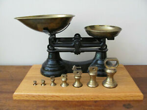 Librasco Scale Black Made In England W Us Standard Unit Brass Weights 1 4oz 1lb
