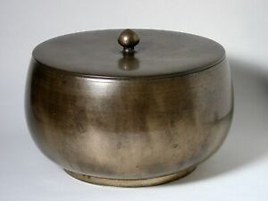 Large Beautiful Antique Korean Bronze Bowl And Cover Goryeo Joseon Yi Dynasty