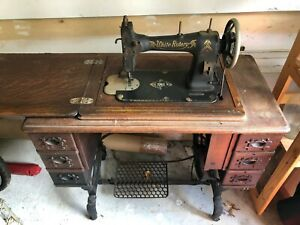 Antique White Rotary Treadle Sewing Machine From Early 1900