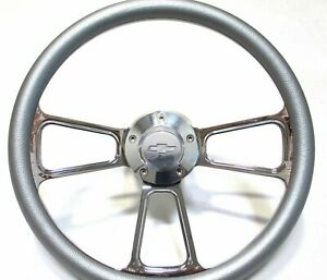 1967 68 Chevy Chevelle Silver Vinyl Steering Wheel Chevy Horn Adapter Full Kit