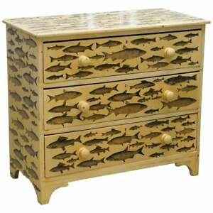 Stunning Liberty S London Fish Decoupage Victorian Chest Of Drawers Lovely Size