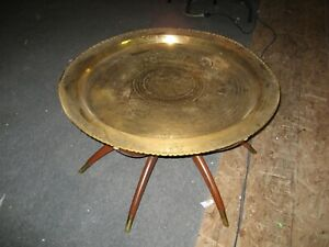 Vintage Mid Century Spider Leg Table With Brass Tray