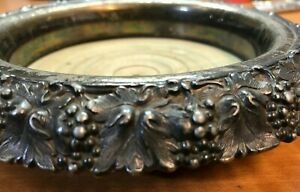 Antique Silverplated Wood Champagne Wine Coaster Grapes