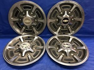 Vintage Set Of 4 1973 87 Chevrolet 15 Hubcaps C10 Truck Good Condition