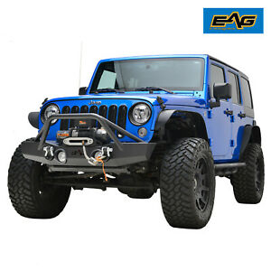 Eag Fits 07 18 Jeep Wrangler Jk Rock Crawler Front Bumper W fog Light Holes