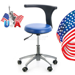 Us Dental Dentist Doctor Assistant Stool Adjustable Mobile Chair Pu Hard Leather