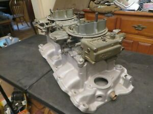Vintage Offenhauser Chevy Big Block Dual Quad Intake Holley Carbs 396 427 454