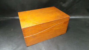 Vintage Mid Century Dovetail Wooden File Box Library Index Card Catalog