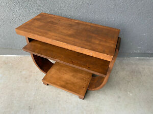 Wood Table Mid Century Modern Eames Brown Saltman Streamline Deco Era