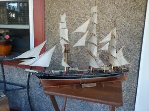 Cutty Sark Sailboat Long Ship 36 Hand Made Completed Vintage Kit Full Sail