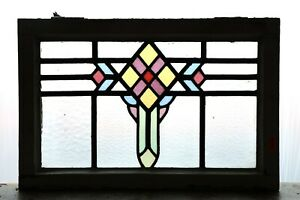 Antique Stained Glass Window Six Colors Art Deco Diamond Design 4465