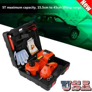 5 Ton Car 12v Electric Hydraulic Floor Jack Garage Tool Set With Impact Wrench