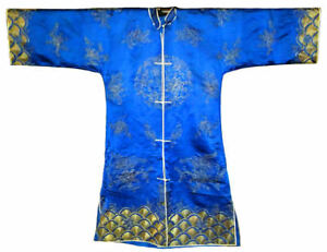 Antique Chinese Silk Embroidery Robe Silver Blue Embroidered Vintage Fine Coat