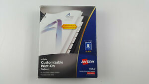 Avery 8 tab Print on Binder Dividers White Tabs 25 Sets 11554