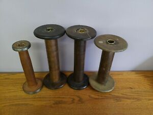 4 Antique Vintage Wood Spools Bobbin Thread Spindle Sewing Candle Holder Wood Lg