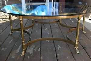 Vintage Labarge Brass Hoof Foot Hollywood Regency Hexagonal Glass Coffee Table